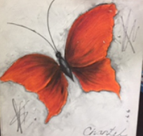 Canvas Art Butterfly with Moulding Paste