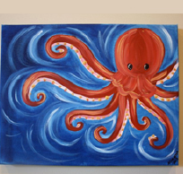Canvas Art, with Wooden Cut Out Octopus